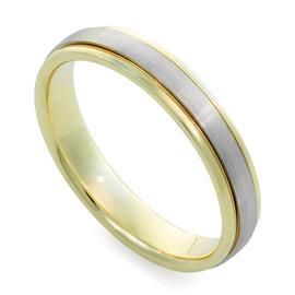 Обручальное кольцо  из белого и желтого золота 585 пробы, артикул R-F 1068м