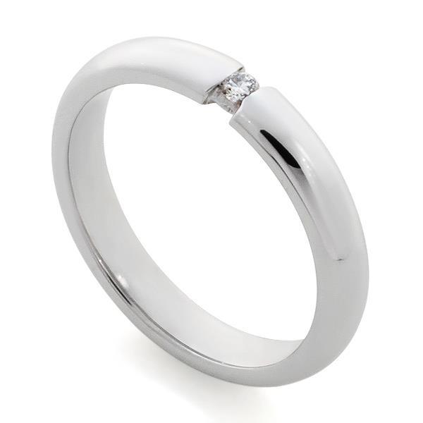 Обручальное кольцо с 1 бриллиантом белое золото 585 проба, артикул R-A30035k-2
