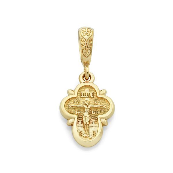 Крест православный нательный  Распятие Иисуса Христа, святой Ангел Хранитель, артикул R-KRZ1302-1