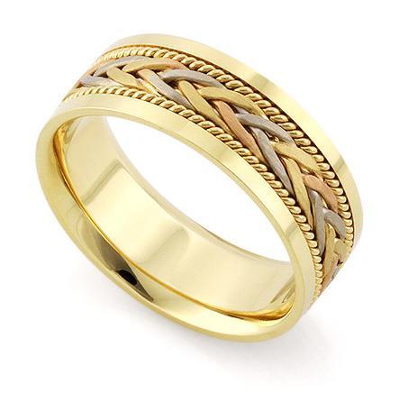 Обручальное кольцо из трехцветного золота 585 пробы, артикул R-V1042