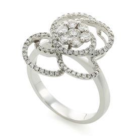 Кольцо с 90 бриллиантами 0,71 ct (1 бриллиантом 0,12 ct 4/5 и 89 бриллиантами  0,59 ct 4/4) из белого золота, артикул R-СК515