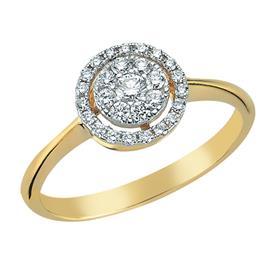 Кольцо  с 28 бриллиантами 0,33 ct 4/5 из желтого золота 585°, артикул R-DRN11902-13