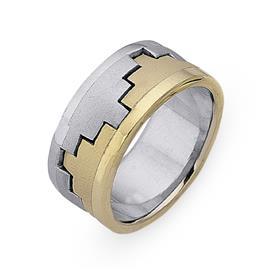 Обручальное кольцо из двухцветного золота 585 пробы, артикул R-СЕ022