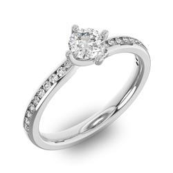 Помолвочное кольцо с 1 бриллиантом 0,45 ct 4/5  и 20 бриллиантами 0,12 ct 4/5 из белого золота 585°, артикул R-D38309-2