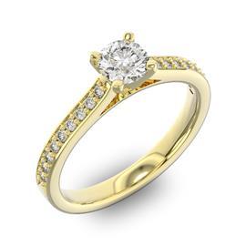 Помолвочное кольцо с 1 бриллиантом 0,35 ct 4/5  и 18 бриллиантами 0,14 ct 4/5 из желтого золота 585°, артикул R-D42596-1