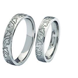 """Обручальные кольца из белого золота 585 пробы серии """"Twin Set"""", артикул R-ТС 3352-2"""