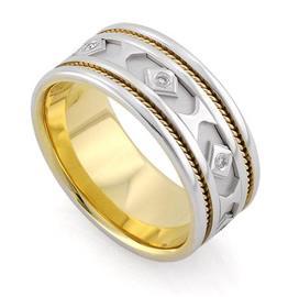 Обручальное кольцо с 7 бриллиантами 0,07 карат белое и желтое золото, артикул R-3335