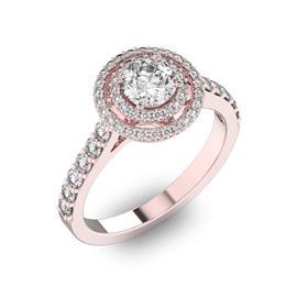 Помолвочное кольцо с 1 бриллиантом 0,45 ct 4/5  и 56 бриллиантами 0,37 ct 4/5 из розового золота 585°, артикул R-D40731-3