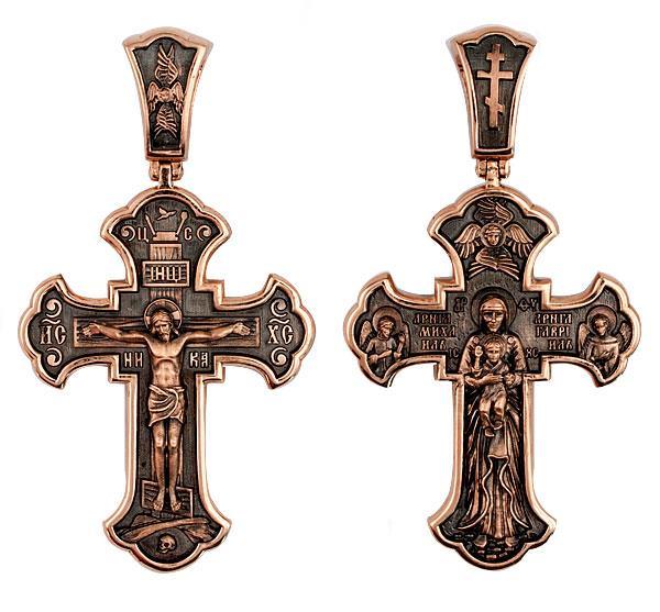 Православный крест Распятие Христово. Валаамская Икона Божией Матери, артикул R-КС3019-3