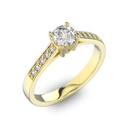 Помолвочное кольцо 1 бриллиантом 0,5 ct 4/5 и 10 бриллиантами 0,15 ct 4/5 из желтого золота 585°, артикул R-D40539-1