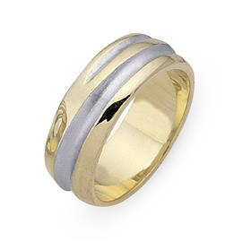 Обручальное кольцо из двухцветного золота 585 пробы, артикул R-СЕ025
