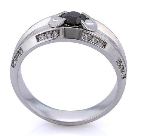 Мужское кольцо с черным бриллиантом 0,42 ct и 24 белыми бриллиантами 0,22 ct 4/4 из белого золота