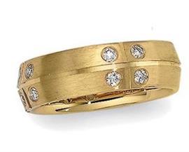 Обручальное кольцо с бриллиантами из золота 585 пробы, артикул R-3641-1