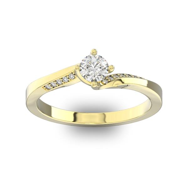 Помолвочное кольцо с 1 бриллиантом 0,40 ct 4/5  и 14 бриллиантами 0,04 ct 4/5 из желтого золота 585°