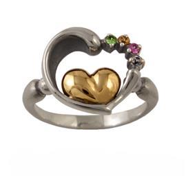 Кольцо Два сердца серебро, артикул R-138099