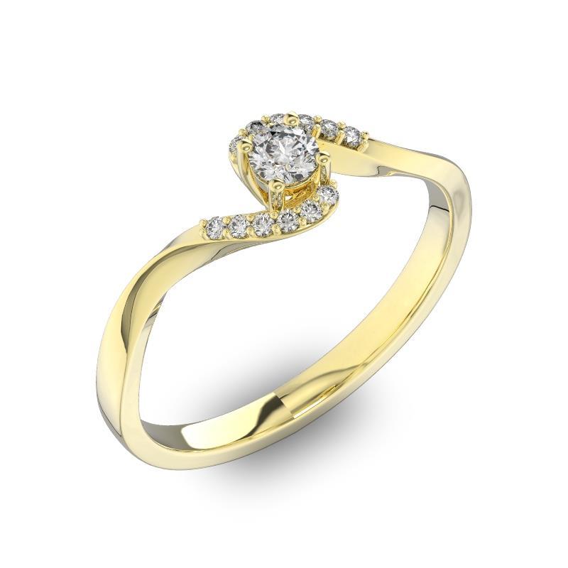 94563166e993 Помолвочное кольцо с 1 бриллиантом 0,15 ct 4 5 и 12 бриллиантами 0,04 ct  4 5 из желтого золота 585°