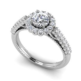 Кольцо с 1 бриллиантом 0,7 ct 4/5 и 28 бриллиантами 0,22 ct 4/5 из белого золота 585°, артикул R-D48328-2
