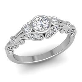 Кольцо с 1 бриллиантом 0,25 ct 4/5 и 24 бриллиантами 0,34 ct 4/5 из белого золота 585°, артикул R-D46074-2