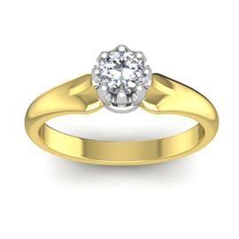 Кольцо с 1 бриллиантом 0,22 ct 4/5 из желтого золота 585°, артикул R-D48363-1