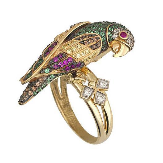 Кольцо Попугай золото кубический цирконий, артикул R-ТТ1034-1