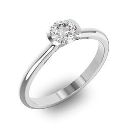 Помолвочное кольцо 1 бриллиантом 0,55 ct 4/5 из белого золота 585°, артикул R-D32383-2