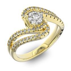 Помолвочное кольцо с 1 бриллиантом 0,45 ct 4/5  и 48 бриллиантами 0,38 ct 4/5 из желтого золота 585°, артикул R-D42599-1