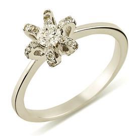 Кольцо с 1 бриллиантом 0,16 ct 4/5 и 36 бриллиантами 0,19 ct 4/5 из белого золота 585°, артикул R-XR04491