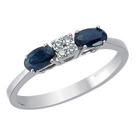 Кольцо с 2 сапфирами 0,69 ct 2/3 и 4 бриллианта 0,06 ct 3/4 ct из белого золота, артикул R-SRN02398-01