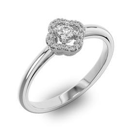 Помолвочное кольцо с 1 бриллиантом 0,1 ct 4/5  и 16 бриллиантами 0,05 ct 4/5 из белого золота 585°, артикул R-D40458-2