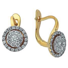 Серьги с 58 бриллиантами 0,75 ct 4/5 из желтого золота 585, артикул R-DEA06392-08