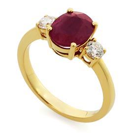 Кольцо  с 1 рубином 2,14 ct 3/3 и 2 бриллиантами 0,36 ct 4/5 из желтое золото 750°, артикул R-MRO11075