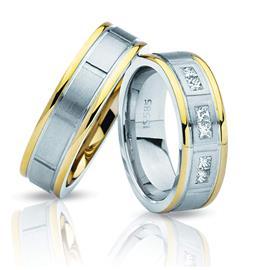 Обручальные кольца парные дизайнерские белое и желтое золото, артикул R-ТС 3299