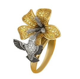 Кольцо Колибри золото кубический цирконий, артикул R-ТТ1101