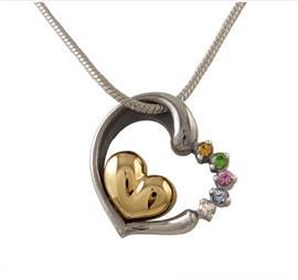 Кулон Два сердца серебро, артикул R-303899