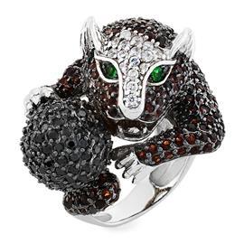 Кольцо Пантера с мячом серебро 925° фианиты, артикул R-3534-2