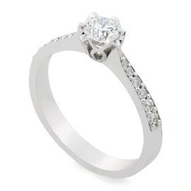 Помолвочное кольцо с 1 бриллиантом 0,40 ct 2/6 и 12 бриллиантами 0,16 ct 3/4 белое золото 750° , артикул R-TRN05451-03