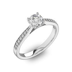 Помолвочное кольцо с 1 бриллиантом 0,45 ct 4/5  и 14 бриллиантами 0,8 ct 4/5 из белого золота 585°, артикул R-D40516-2