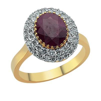 Кольцо с 1 рубин 1,94 ct 3/3 и 46 бриллиантами 0,76 ct 3/4 из желтого золота, артикул R-RRN01495-02