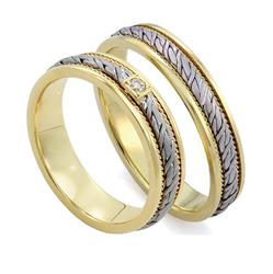Обручальные кольца парные с бриллиантами из золота 585 пробы, артикул R-ТС L1912-1Б1