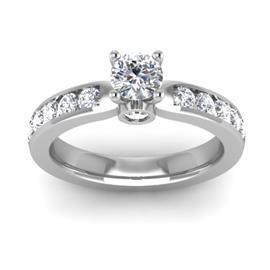 Кольцо с 1 бриллиантом 0,3 ct 4/5 и 11 бриллиантами 0,33 ct 4/5 из белого золота 585°, артикул R-D48400-2