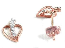 Серьги с бриллиантами из розового золота 750 пробы, артикул R-DED 00158