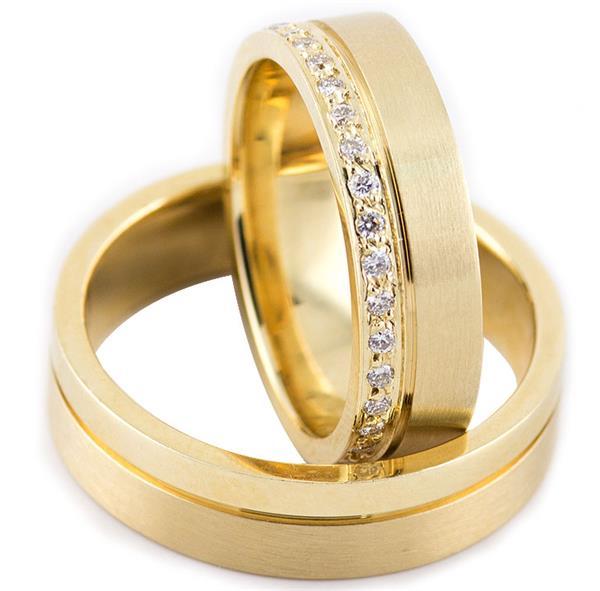"""Обручальные кольца из желтого золота 585 пробы, серия """"Twin set"""""""