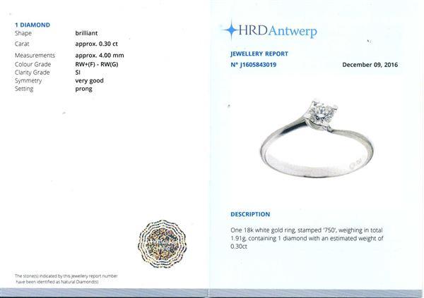 Помолвочное кольцо с 1 бриллиантом 0,30 ct 3/6  белое золото 750°