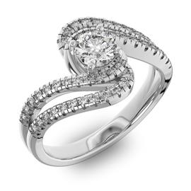 Помолвочное кольцо с 1 бриллиантом 0,45 ct 4/5  и 48 бриллиантами 0,38 ct 4/5 из белого золота 585°, артикул R-D42599-2