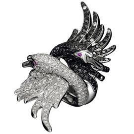 Кольцо Лебеди золото кубический цирконий, артикул R-ТТ1302