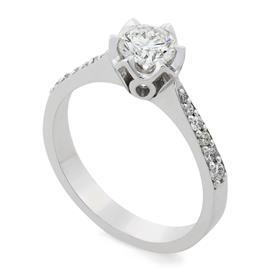 Помолвочное кольцо с 1 бриллиантом 0,64 ct 3/6 и 12 бриллиантами 0,16 ct 3/4 белое золото 750° , артикул R-TRN05451-01