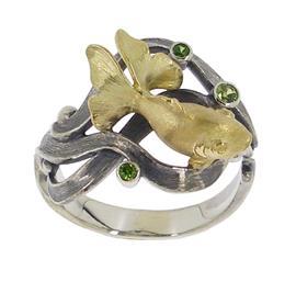 Кольцо Золотая Рыбка серебро, артикул R-136906