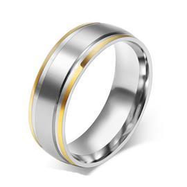 Обручальное кольцо дизайнерское из желтого и белого золота, ширина 8 мм, комфортная посадка, артикул R-ТС AL2319-12