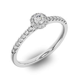 Помолвочное кольцо 1 бриллиантом 0,2 ct 4/5 и 26 бриллиантами 0,2 ct 4/5 из белого золота 585°, артикул R-D36029-2
