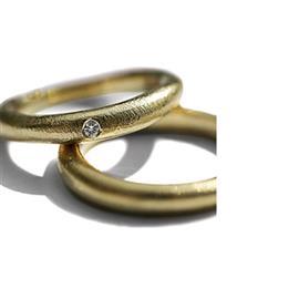 Обручальные кольца парные с бриллиантом из золота 585 пробы, артикул R-ТС 16003